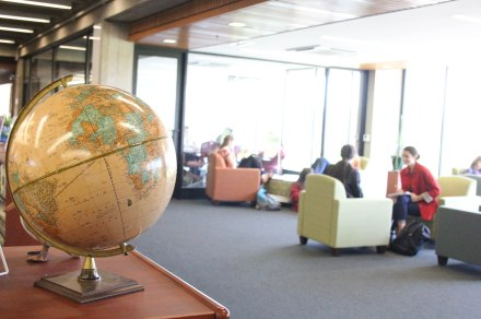 Students in the Meadows seating area on the main floor.