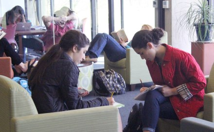 Small group study at the library.